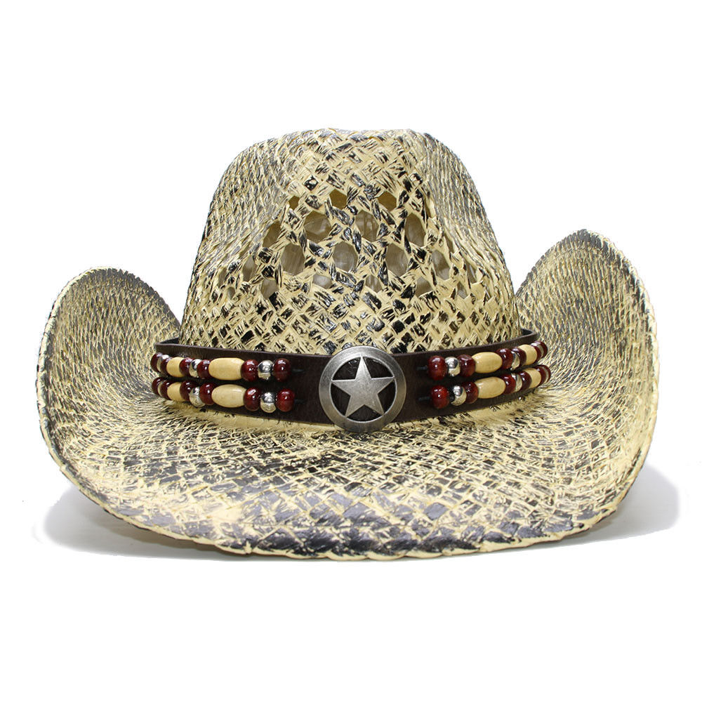 Summer Wide Western Brim Straw Cap Cowboy Western Wide Hat Hollow Out Star Sign Leather Band 0f8dc8