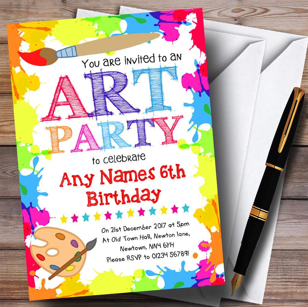 Artisanat Birthday d'Art pour enfants Party Birthday Artisanat Party Invitations eafe04