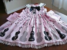 Angelic Pretty Sweet Lolita Pink & Black Violin Music Note Print JSK Dress Used