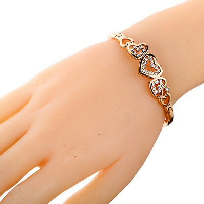 Gold Plated multiple Crystal Heart snap closure cuff Bracelet Bangle Jewelry
