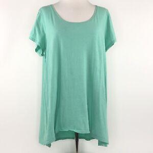 Pure-Jill-Mint-Green-Blue-Pima-Cotton-Elliptical-Tee-Top-Shirt-Womens-Large