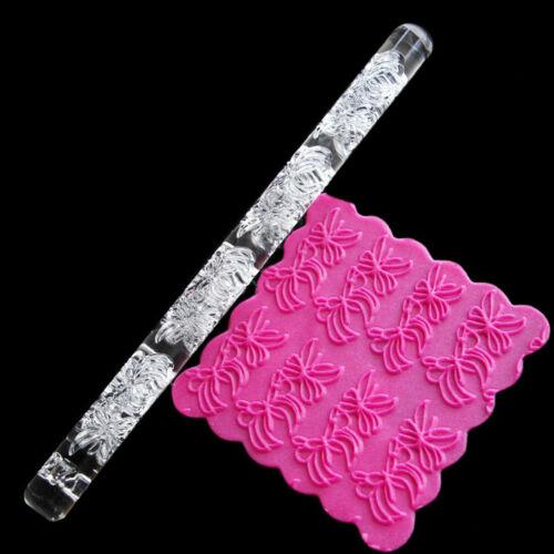 Embossing Acrylic Rolling Pin Fondant Sugar Craft Cake Baking Decorating TooNWUS
