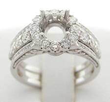DIAMOND SEMI MOUNT HALO ENGAGEMENT RING 1.22 CT DESIGNER 18K