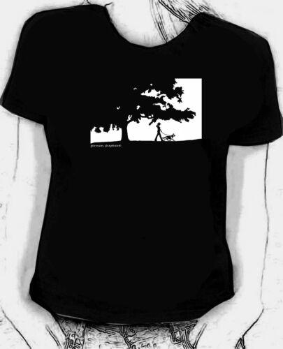 Walking the German Shepherd dog original art sketch Skinni fit t-shirt