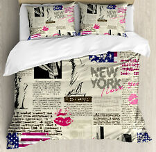 United States Duvet Cover Set with Pillow Shams NYC Newspaper Print