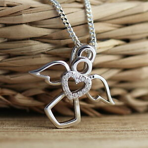 925 sterling silver guardian angel pendant cz heart charm necklace image is loading 925 sterling silver guardian angel pendant cz heart aloadofball Image collections