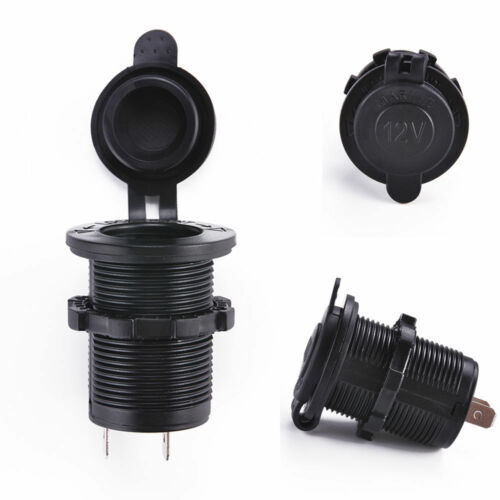 Black 12V Waterproof Car Boat Motorcycle Lighter Sockets Power Plug Outlet