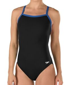 Speedo Womens Swimwear Black Blue Size 10 /36 Contrast Flyback Swimsuit $69- 607