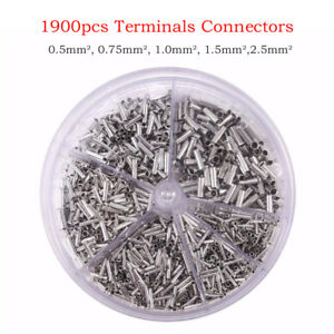 1900pcs 0.5-2.5mm2 Uninsulated Copper Crimp Wire Connector Cord End Terminal