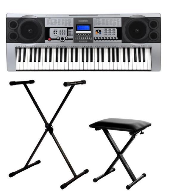 professional 61 keys digital keyboard e piano 100 sounds rhythms stand bench set for sale online. Black Bedroom Furniture Sets. Home Design Ideas