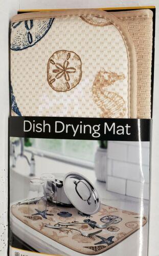 "Kitchen Microfiber Dish Drying Mat SEASHELLS SEALIFE beige by S /& T 16/""x18/"""