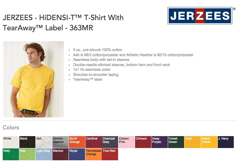 JerZee 363 HiDENSI-T T-SHIRTS BLANK BULK LOT Farbes or Weiß S-XL Wholesale