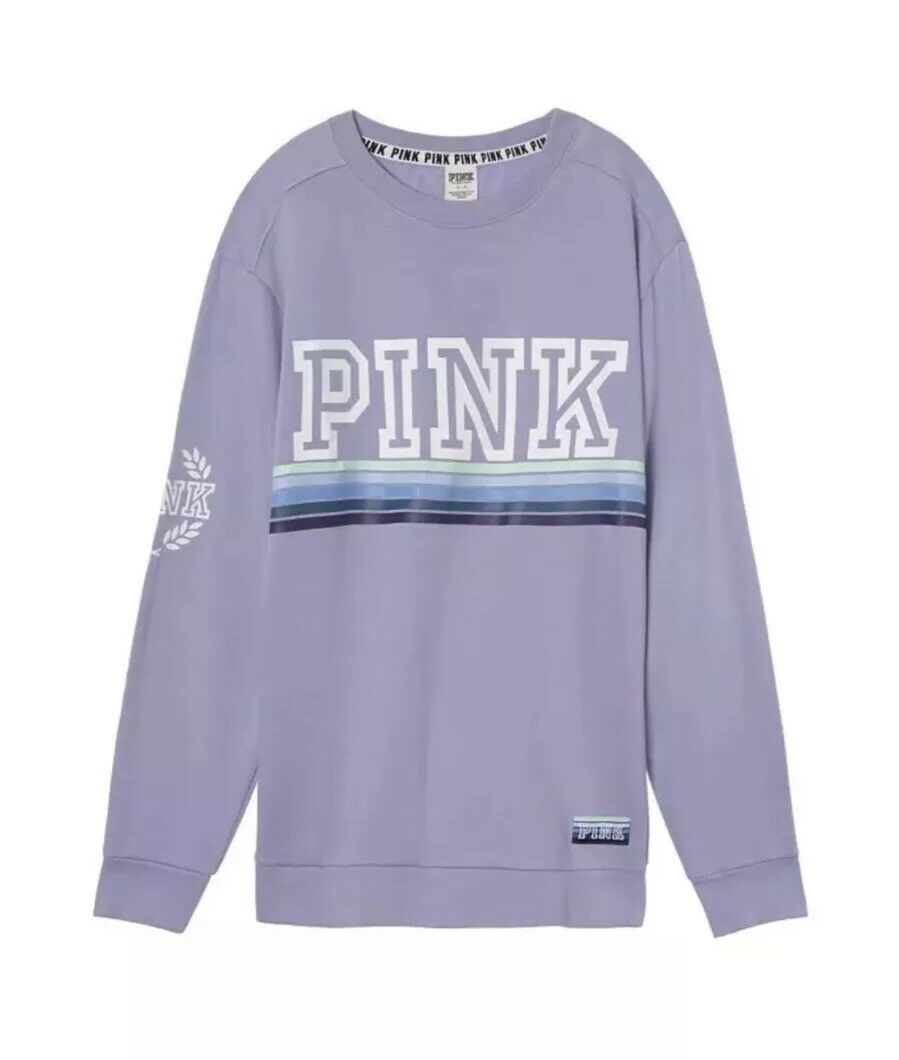 Brand Brand Brand New Victoria's Secret PINK Campus Crew Sweatshirt Size Small Light bluee 832c3b