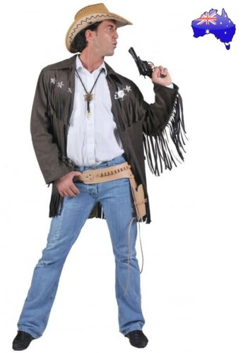 Mens Adult Sheriff Gunslinger Jacket Cowboy Wild West Fancy Dress Costume