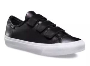 4bad7f9c18 Details about Vans Mens 3.5 Womens 5 Style 23 V 2 Tone Leather Gunmetal  Sliver Black Sneakers