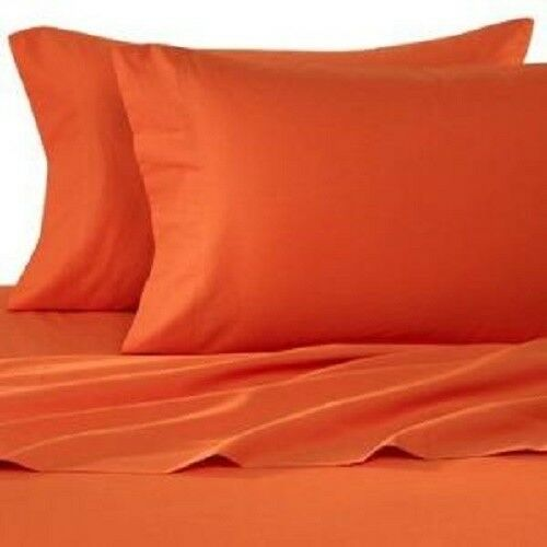 King Size orange Solid 4 Piece Sheet Set 1000 Thread Count 100% Egyptian Cotton