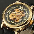 SEWOR Men's Skeleton Gold Case Automatic Mechanical Leather Luxury Sport Watch