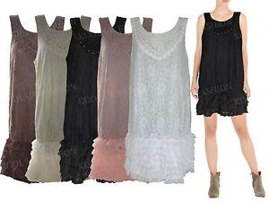 Nuevo-Mujeres-Vestido-Sin-Mangas-Capas-Verano-Encaje-Damas-Camiseta-talla-grande