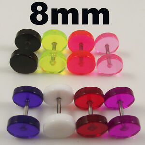 Transparente-falso-tramposo-oreja-enchufe-pendiente-8mm-De-Diametro-Elija-El-Color-Nuevo