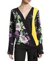 Diane Von Furstenberg Floral Silk Crossover Tie Blouse Curzon Black M $328