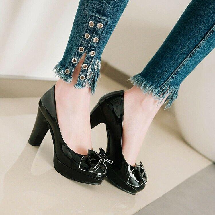 Womens Plus Size shoes Block Heels Bowtie Mary Jane Lolita Platform Court shoes