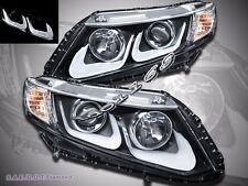 2012 2013 Honda Civic Coupe Sedan Projector LED U Style Black Headlights Pair