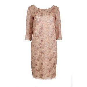 Rochas 5081 womens beige metallic lace knee length party dress 42 bhfo