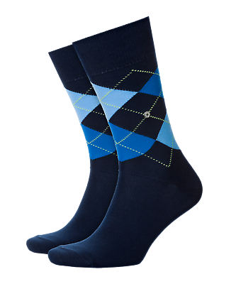 BURLINGTON Men/'s Argyle Socks 21020 King Navy Cotton Mix One Size