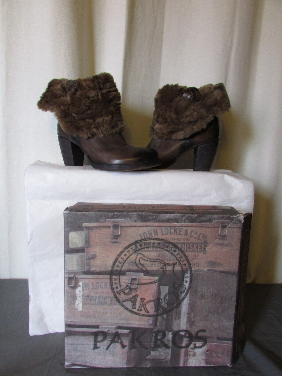 Boots   Boots Stuffed Pakros Brown Leather Bronze & Faux fur 41