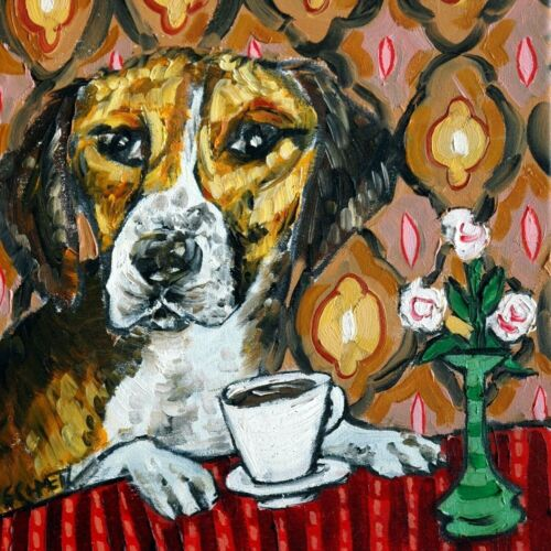 harrier dog at the cafe coffee shop dog art tile coaster gift gifts coasters