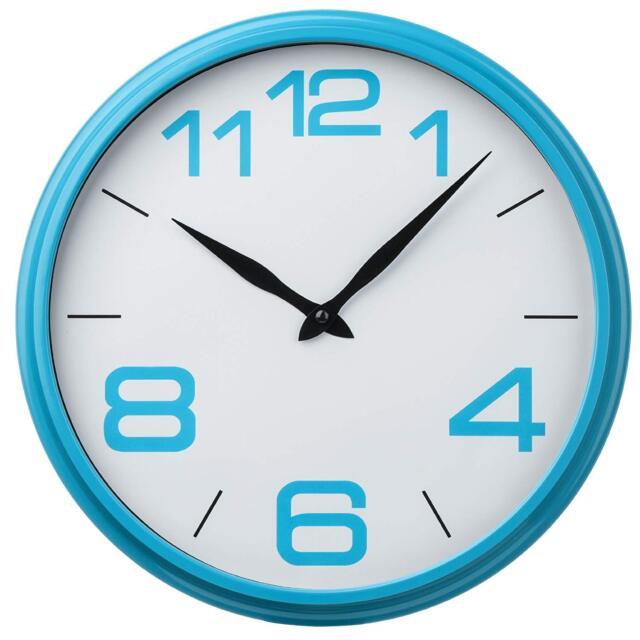 Bright Blue Plastic Frame Black Hands Wall Mountable Clock Kitchen