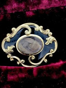 Antiguo-broche-de-oro-de-luto-Esmalte-Casa-Victoriana-pelo-escritos-C1857-Rara