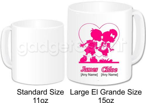Personalised Large Love Mug Pink Silhouette Couple Heart Valentines Novelty Gift