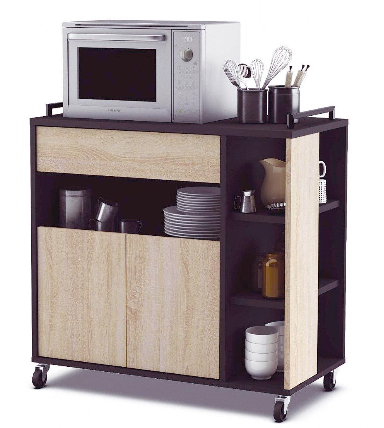 Mueble auxiliar para cocina color roble y negro 79x79x40 cm