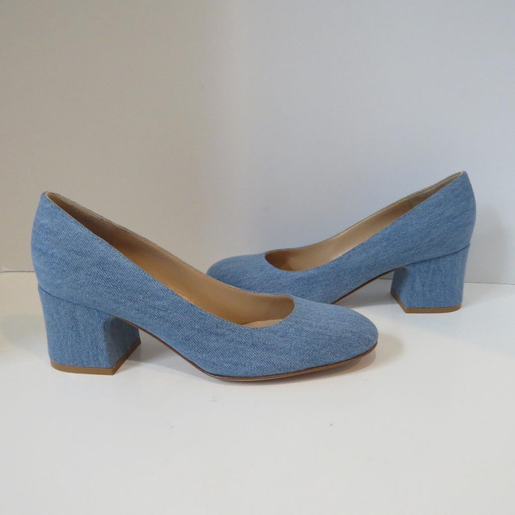 negozio di sconto NWOB Gianvito Rossi Light blu blu blu Denim  Linda  Round Toe Heels Shoe Dimensione 39  l'ultimo