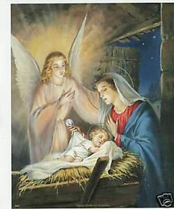 Catholic-Print-Picture-Christmas-Nativity-Jesus-amp-Mary-8x10-034-ready-for-framing