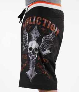 64b81b3fca AFFLICTION Men's LIVE FAST CUSTOMS Skull board shorts black 01BS426 ...
