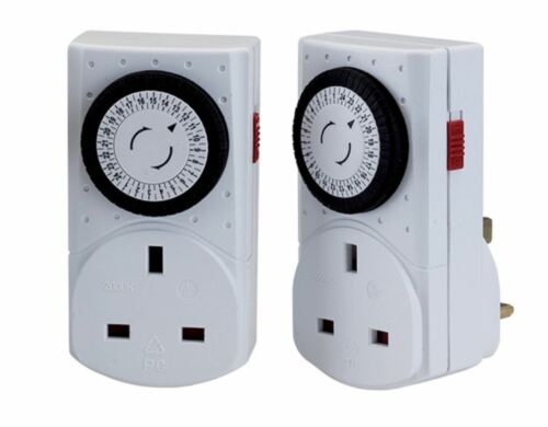 Twin Pack Wickes Mechanical Mains Timer Socket Plug 24 Hour Segment Timer