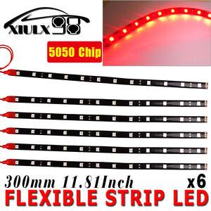 6X-Waterproof-5050-SMD-30CM-12-034-Red-12-LED-Car-Motors-Truck-Flexible-Strip-Light