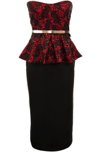 Ladies Lace Sequin Boobtube  Peplum Bodycon Skirt Knee Length Womens Dress