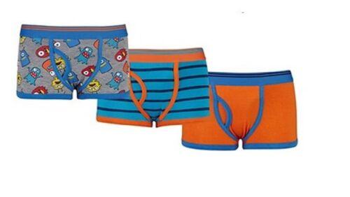 Boys Kids 3 Pairs Boxer Trunks Underwear Briefs Cotton