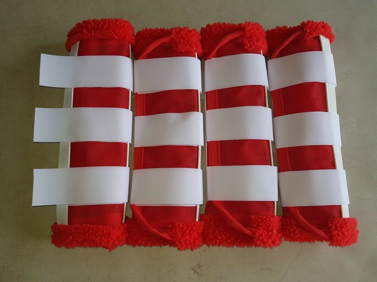 Horse Fly Mesh Boots Set of 4 Red & White Australian Made Summer Predection
