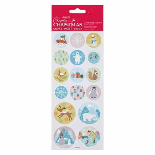 DOCRAFTS FOIL /& GLITTER CHRISTMAS PASTEL STICKERS FOR CARDS /& CRAFTS