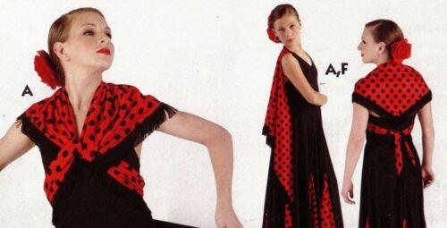 NWT Flamenco Latin camisole leotard w//attached dotted fringed shawl ch//ladies