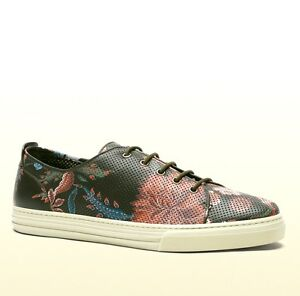 b5a08756558 New Authentic Gucci Mens Flower Print Leather Lace-up Sneaker 342049 ...