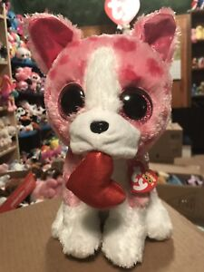 """a3c92d130 Details about Ty ROMEO -Pink/White w/Heart Pattern Valentine Dog 10"""" Beanie  Boo Buddy *Retired"""