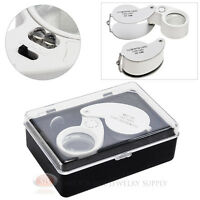Jewelers Loupe 30x Magnifier 25mm Glass Lens Magnifying Illuminated Lighted Led