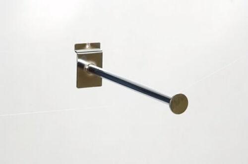 "25 x 30cm|300mm|12/"" Chrome Straight Arm Disc End Slat Slot Wall Retail Display"