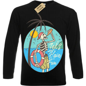 Skeleton-Beach-Lifeguard-lets-have-fun-T-Shirt-Mens-Long-Sleeve
