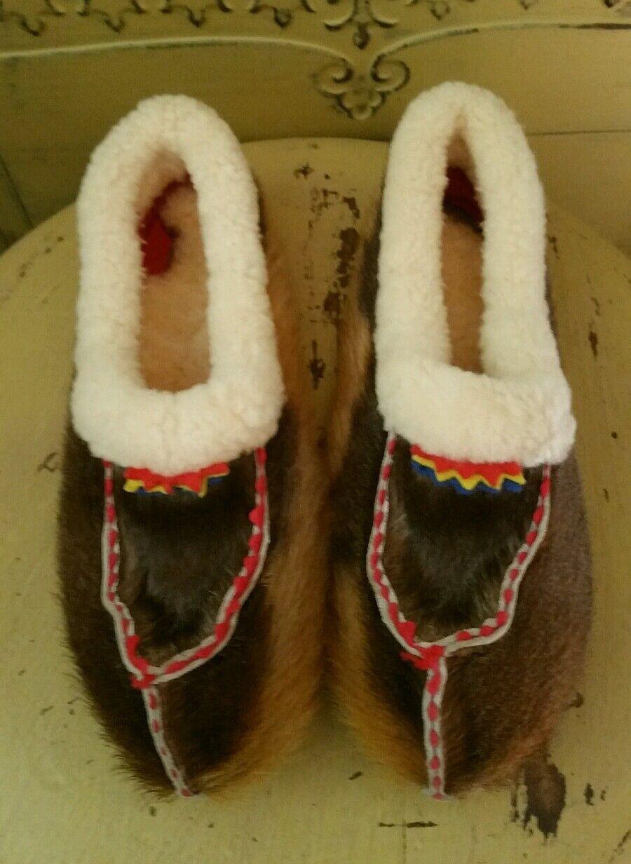 VINTAGE REAL  ALASKA FUR SHEARLING SLIP ON MOCCASINS FLATS SHOES SLIPPERS 6